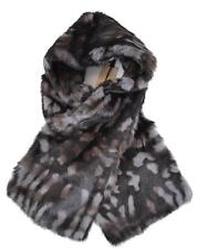 NEW BURBERRY $995 MID GREY PRINTED RABBIT FUR SCARF STOLE