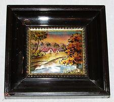Tableau miniature peinture Emaux de LIMOGES : Maisons signé E.J Guitard