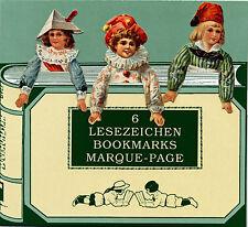 Sechs Papierpuppen Französische Lesezeichen Bookmarks Reprint 19. Jhd.