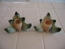 Beautiful Pair Vintage Hull Ebb Tide Candlestick Holders Turquoise Salmon