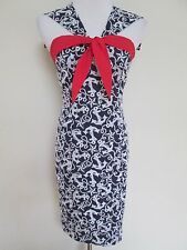 Betsey Johnson Blue White Anchor Star Nautical Embroidered Pin Up Wiggle Dress 4