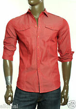 NEW INC INTERNATIONAL CONCEPTS CONVERTIBLE SLEEVE BUTTON UP RED SOLID SHIRT S