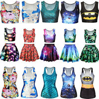 2016 Womens 3D Galaxy Printed Costume Gothic Punk Vest Crop Tank Top Skirt Dress