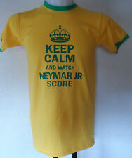 BRAZIL KEEP CALM AND WATCH NEYMAR JR SCORE TEE SHIRT SIZE ADULT MEDIUM NEW