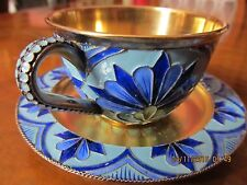 RUSSIAN STERLING SILVER VINTAGE GILT CLOISONNE ENAMEL CUP and SAUCER