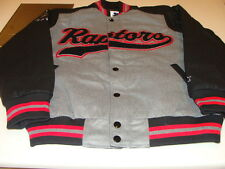 Toronto Raptors NBA Basketball Starter Jacket Grey Black Medium Word Mark Script