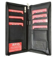 RFID Security Safe Leather Travel Wallet Passport Airline Ticket Check Case Bk