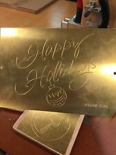 HAPPY HOLIDAYS BRASS MASTER TEMPLATE FOR NEW HERMES ENGRAVER FONT TRAY