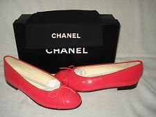 100% AUTHENTIC NEW WOMEN CHANEL CORAL BALLERINA/BALLET FLATS US 7.5