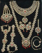 TRADITIONAL RED LCT CZ GOLD TONE NECKLACE INDIAN BRIDAL DULHAN JEWELRY SET 9 PCS