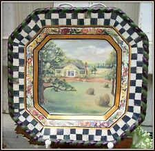 NWT ~ RARE MACKENZIE CHILDS MACLACHLAN SQUARE SCENERY PLATE w/ COURTLY CHECKS