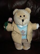"""2006 Starbucks Coffee Company Boy w/ Outfit Holding Rose Plush Beanie Doll 10"""""""