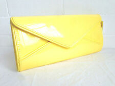 NEW YELLOW GLOSSY PATENT EVENING CLUTCH BAG WEDDINGS PROM PARTY SHOULDER STRAP