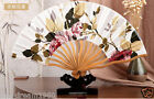 Pretty Chinese Hand Held White Silk Floral Bamboo Folding Fan Wedding Favor New