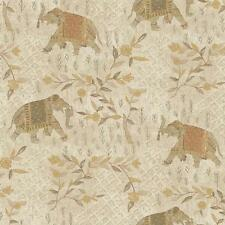 Wallpaper Designer Indian Elephants in Peach Taupe Green Tan Beige Gold on Cream