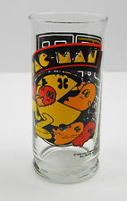 Vintage Pac Man 16 oz Tumbler Glass 1982 Bally Midway  PERFECT DECALS!