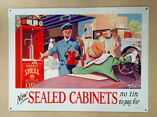 Shell Double Motor Oil Now Sealed Cabinets - Tin Metal Wall Sign