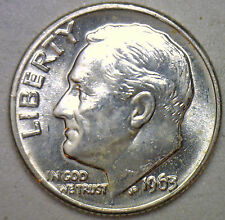 1963 D Silver UNCIRCULATED BU Roosevelt Dime Ten Cent Coin from Nice 10c Roll #R