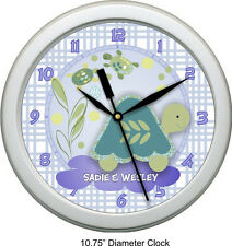 "Personalized Turtle Reef 10.75"" Wall Clock Nursey Decor Shower Gift"