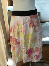 Ann Taylor Loft Pink Yellow Blush A Line Floral Skirt 8 Excellent Linen Blend