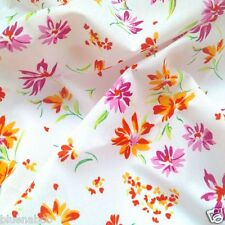 """per Mt Hawaii floral white & pink polycotton fabric width 44"""" dressmaking/craft"""