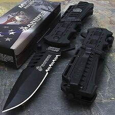 USMC Marines Black Spring Assisted Opening Tactical Rescue Folding Pocket Knife