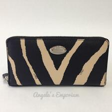 COACH Zebra Print Leather Accordian Zip Around Wallet F52710 Black Multi