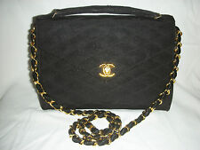 VINTAGE CHANEL QUILTED BLACK OTTOMAN FABRIC CONVERTIBLE CLUTCH - 1986-88