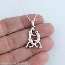 Mother Child Necklace - 925 Sterling Silver - Celtic Trinity Mother Baby Family