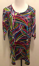 ULLA POPKEN Plus Size XL 12 14 3/4 Sleeve Streamers Tunic Top Black Multi Color