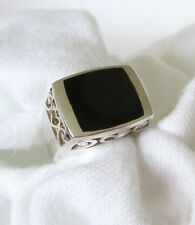 Square Shape Onyx Stone w Filigree Base 925 Silver Ring.  Ladies Size 7   NWT