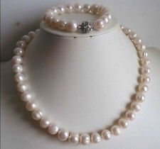 Real 10-11MM white freshwater Cultured Pearl Necklace Bracelets Jewelry Sets