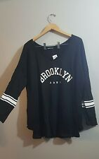 Plus 3X black screen tee Brooklyn baby long sleeve tshirt baseball + torrid gift