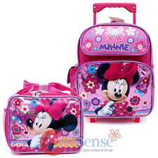 "Minnie Mouse 12"" School Roller Backpack with Lunch Bag 2pc Set- Glittering Pink"