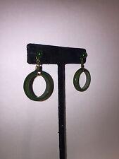 """antique Japan carved TRANS GREEN jade jadeite & 925 """"single HOOP"""" earrings"""