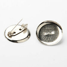 50pcs Iron Brooch Bar Findings Round Pin Back Safety Catch 24mm Jewelry Making