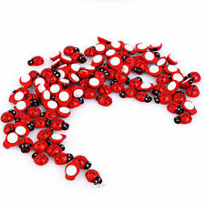 100 Mini Wooden Ladybird Ladybug Sticker Adhesive Fridge Party Decorating Craft