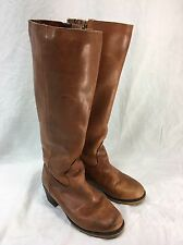 VTG LL BEAN Womens 5 Leather Boots Brown Fleece Lined Side Zip Riding Canada