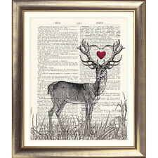 ART PRINT ON ORIGINAL ANTIQUE BOOK PAGE Stag & heart Dictionary Picture Antlers