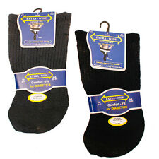3 Pair Mens Extra-Wide Comfort fit Diabetic Socks Non Elastic Black & Darks 6-11