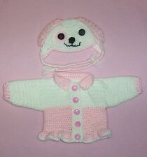 Dolls Clothes Pink Puppy Dog Sweater & Hat Fits Bitty Baby/Berenguer 15-17