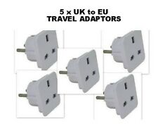 5 x UK to EU Euro European Travel Adaptor 3 Pin to 2 Pin Plug Adapter Converter
