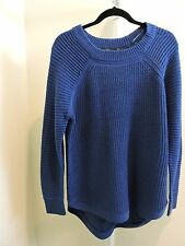 NWT- $108 RDI Acrylic Blend Air Force Blue Hi Lo Crew Neck  Sweater-Size - Med