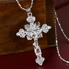Men Women Fashion Sterling Silver Cross Jesus Charms Pendant For Necklace BS-A