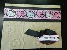 Handmade HAPPY BIRTHDAY Card HELLO KITTY Using Stampin Up Embossed Sizzix Hearts