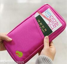 Travel Documents Passport ID Card Holder Organizer Purse Wallet-H Pink