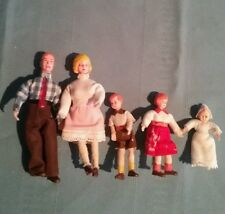 5 Piece Vintage Doll House Family Bendable Wrapped Limbs Mom Dad Boy Girl & Baby
