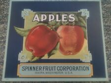 SPINNER LITHOGRAPHED APPLE CRATE LABEL 1920S Yakima Washington Traung Label Old!