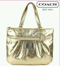 NEW AUTHENTIC COACH GOLD LEATHER GLAM POPPY TOTE BAG PURSE RARE 20361 FREE GIFT!