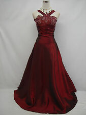 Cherlone Plus Size Satin Burgundy Prom Ball Gown Wedding/Evening Dress UK 26-28